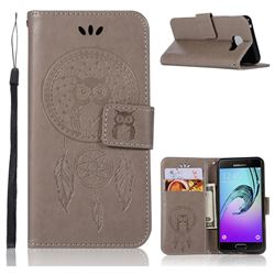 Intricate Embossing Owl Campanula Leather Wallet Case for Samsung Galaxy A3 2016 A310 - Grey
