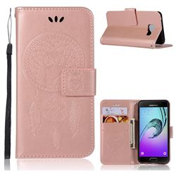 Intricate Embossing Owl Campanula Leather Wallet Case for Samsung Galaxy A3 2016 A310 - Rose Gold