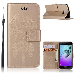 Intricate Embossing Owl Campanula Leather Wallet Case for Samsung Galaxy A3 2016 A310 - Champagne