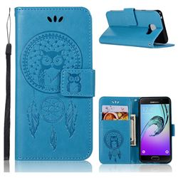 Intricate Embossing Owl Campanula Leather Wallet Case for Samsung Galaxy A3 2016 A310 - Blue