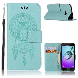 Intricate Embossing Owl Campanula Leather Wallet Case for Samsung Galaxy A3 2016 A310 - Green