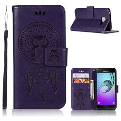 Intricate Embossing Owl Campanula Leather Wallet Case for Samsung Galaxy A3 2016 A310 - Brown