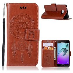 Intricate Embossing Owl Campanula Leather Wallet Case for Samsung Galaxy A3 2016 A310 - Purple