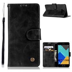 Luxury Retro Leather Wallet Case for Samsung Galaxy A3 2016 A310 - Black