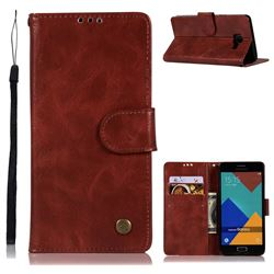Luxury Retro Leather Wallet Case for Samsung Galaxy A3 2016 A310 - Wine Red