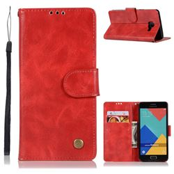 Luxury Retro Leather Wallet Case for Samsung Galaxy A3 2016 A310 - Red
