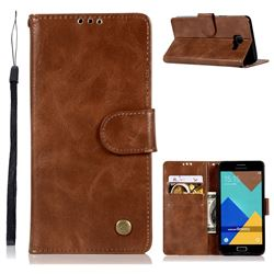 Luxury Retro Leather Wallet Case for Samsung Galaxy A3 2016 A310 - Brown