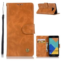 Luxury Retro Leather Wallet Case for Samsung Galaxy A3 2016 A310 - Golden