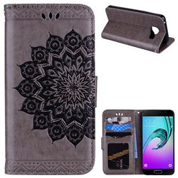 Datura Flowers Flash Powder Leather Wallet Holster Case for Samsung Galaxy A3 2016 A310 - Gray