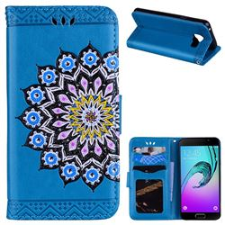 Datura Flowers Flash Powder Leather Wallet Holster Case for Samsung Galaxy A3 2016 A310 - Blue