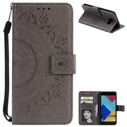 Intricate Embossing Datura Leather Wallet Case for Samsung Galaxy A3 2016 A310 - Gray