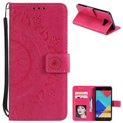 Intricate Embossing Datura Leather Wallet Case for Samsung Galaxy A3 2016 A310 - Rose Red