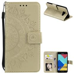 Intricate Embossing Datura Leather Wallet Case for Samsung Galaxy A3 2016 A310 - Golden
