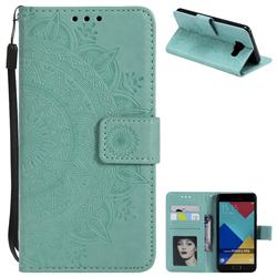 Intricate Embossing Datura Leather Wallet Case for Samsung Galaxy A3 2016 A310 - Mint Green