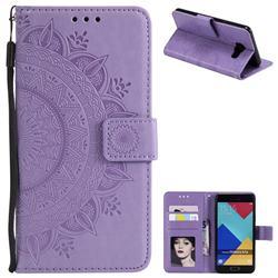 Intricate Embossing Datura Leather Wallet Case for Samsung Galaxy A3 2016 A310 - Purple