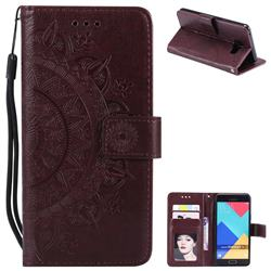 Intricate Embossing Datura Leather Wallet Case for Samsung Galaxy A3 2016 A310 - Brown