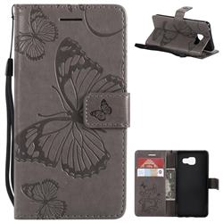 Embossing 3D Butterfly Leather Wallet Case for Samsung Galaxy A3 2016 A310 - Gray