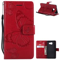Embossing 3D Butterfly Leather Wallet Case for Samsung Galaxy A3 2016 A310 - Red