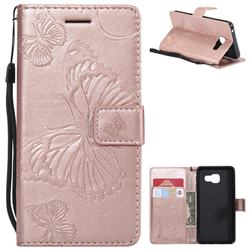 Embossing 3D Butterfly Leather Wallet Case for Samsung Galaxy A3 2016 A310 - Rose Gold
