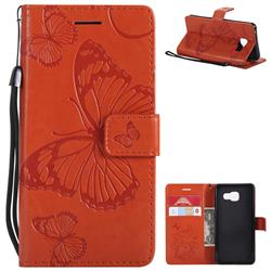 Embossing 3D Butterfly Leather Wallet Case for Samsung Galaxy A3 2016 A310 - Orange
