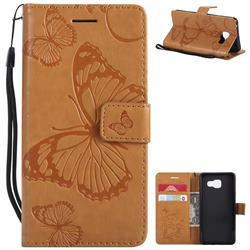 Embossing 3D Butterfly Leather Wallet Case for Samsung Galaxy A3 2016 A310 - Yellow