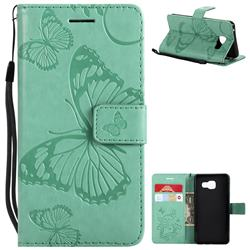Embossing 3D Butterfly Leather Wallet Case for Samsung Galaxy A3 2016 A310 - Green