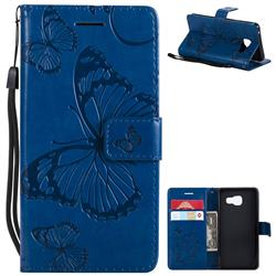 Embossing 3D Butterfly Leather Wallet Case for Samsung Galaxy A3 2016 A310 - Blue