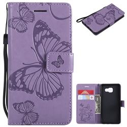 Embossing 3D Butterfly Leather Wallet Case for Samsung Galaxy A3 2016 A310 - Purple
