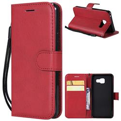 Retro Greek Classic Smooth PU Leather Wallet Phone Case for Samsung Galaxy A3 2016 A310 - Red