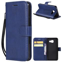 Retro Greek Classic Smooth PU Leather Wallet Phone Case for Samsung Galaxy A3 2016 A310 - Blue