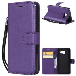 Retro Greek Classic Smooth PU Leather Wallet Phone Case for Samsung Galaxy A3 2016 A310 - Purple