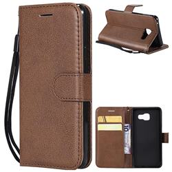 Retro Greek Classic Smooth PU Leather Wallet Phone Case for Samsung Galaxy A3 2016 A310 - Brown