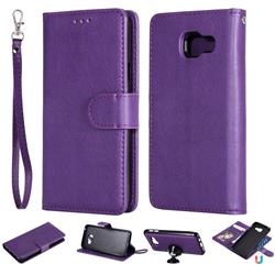 Retro Greek Detachable Magnetic PU Leather Wallet Phone Case for Samsung Galaxy A3 2016 A310 - Purple