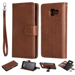 Retro Greek Detachable Magnetic PU Leather Wallet Phone Case for Samsung Galaxy A3 2016 A310 - Brown