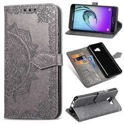 Embossing Imprint Mandala Flower Leather Wallet Case for Samsung Galaxy A3 2016 A310 - Gray