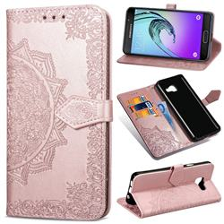 Embossing Imprint Mandala Flower Leather Wallet Case for Samsung Galaxy A3 2016 A310 - Rose Gold