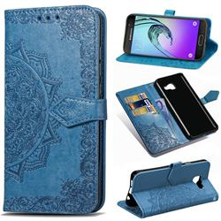 Embossing Imprint Mandala Flower Leather Wallet Case for Samsung Galaxy A3 2016 A310 - Blue