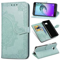 Embossing Imprint Mandala Flower Leather Wallet Case for Samsung Galaxy A3 2016 A310 - Green