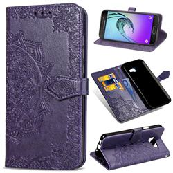 Embossing Imprint Mandala Flower Leather Wallet Case for Samsung Galaxy A3 2016 A310 - Purple