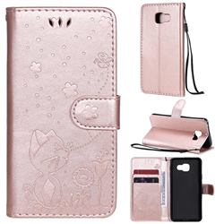 Embossing Bee and Cat Leather Wallet Case for Samsung Galaxy A3 2016 A310 - Rose Gold