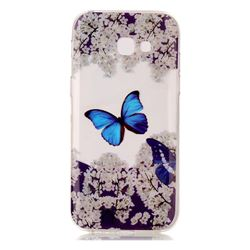 Blue Butterfly Flower Super Clear Soft TPU Back Cover for Samsung Galaxy A3 2017 A320