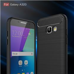 Luxury Carbon Fiber Brushed Wire Drawing Silicone TPU Back Cover for Samsung Galaxy A3 2017 A320 (Black)