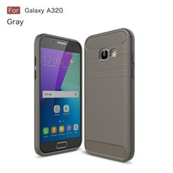 Luxury Carbon Fiber Brushed Wire Drawing Silicone TPU Back Cover for Samsung Galaxy A3 2017 A320 (Gray)