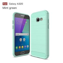 Luxury Carbon Fiber Brushed Wire Drawing Silicone TPU Back Cover for Samsung Galaxy A3 2017 A320 (Mint Green)