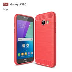 Luxury Carbon Fiber Brushed Wire Drawing Silicone TPU Back Cover for Samsung Galaxy A3 2017 A320 (Red)