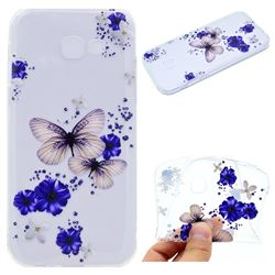Blue Butterfly Flowers Super Clear Soft TPU Back Cover for Samsung Galaxy A3 2017 A320