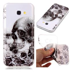 Black Flower Skull Super Clear Soft TPU Back Cover for Samsung Galaxy A3 2017 A320