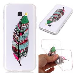 Green Feathers Super Clear Soft TPU Back Cover for Samsung Galaxy A3 2017 A320