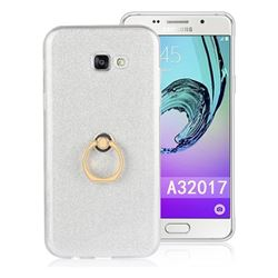 Luxury Soft TPU Glitter Back Ring Cover with 360 Rotate Finger Holder Buckle for Samsung Galaxy A3 2017 A320 - White