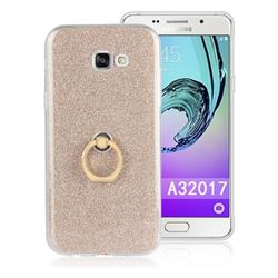 Luxury Soft TPU Glitter Back Ring Cover with 360 Rotate Finger Holder Buckle for Samsung Galaxy A3 2017 A320 - Golden